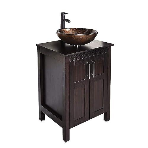 Counter Top Glass Vessel Sink Vanity, 24 Inch Bathroom Vanity Combo