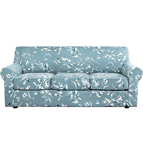 H Versailtex Super Stretch 4 Pieces, Aqua Sofa Slipcover