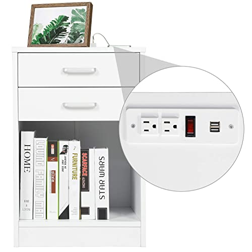 Buy Adorneve White Nightstand With Usb Port For Bedroom End Table Side Table Wooden Sofa Side Storage Stand Cabinet With Sliding Drawer And Shelf Online In Greece B08qn2y6wc