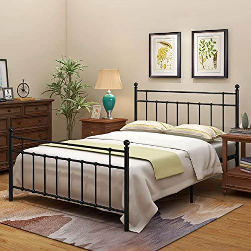 Metal Bed Frame Foundation With, Queen Metal Bed Frame With Headboard No Footboard