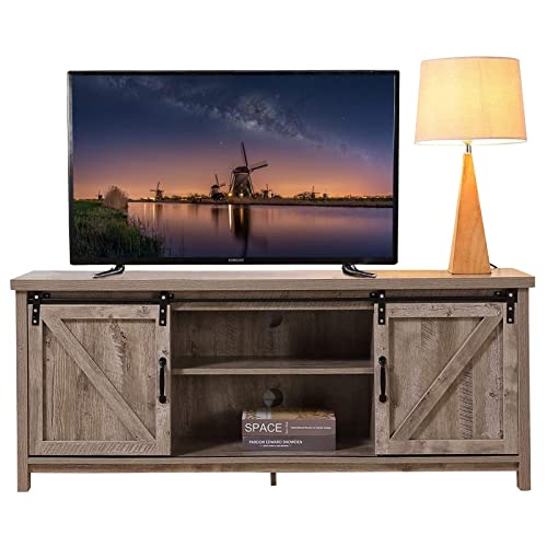 Lipo Farmhouse Modern Wood Tv Stand, Tv Stands With Cabinet Doors