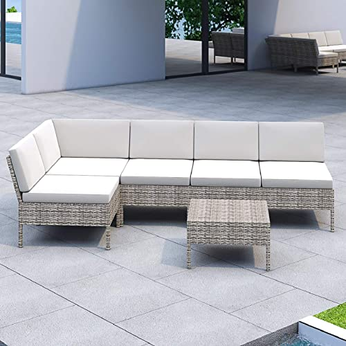 Lokatse Home 6 Pieces All Weather, Patio Furniture 3 Piece Sectional Sofa Resin Wicker Beige