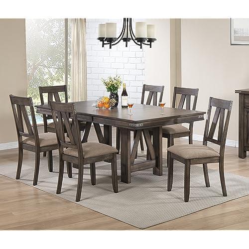 Kings Brand Furniture Brown Wood, 7 Piece Dining Room Set Under $500